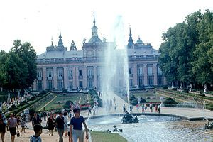 """Royal Palace of La Granja de San Ildefonso - Wikipedia, the The original waterworks and piping are still functional. They rely purely on gravity to project water up the fountain jets, including to the 40 metres (130 ft) height of the """"Fame"""" fountain. A reservoir, El Mar (the Sea), lies secluded at the highest point of the landscape park, and provides the supply and water pressure for the whole system. free encyclopedia"""