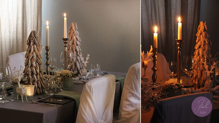 Sch ne weihnachtsb umchen als tischdekoration mieten www for Exklusive weihnachtsdeko