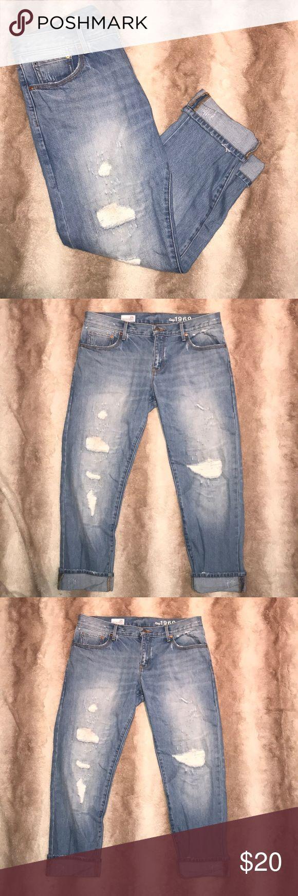 "GAP 1969 Sexy Boyfriend Distressed Denim Jeans Worn only once!!!! Size 28 R light color Denim Distressed Jeans.   17.5"" Waist 36.5"" top to bottom (cuffs unrolled) GAP Jeans Boyfriend"