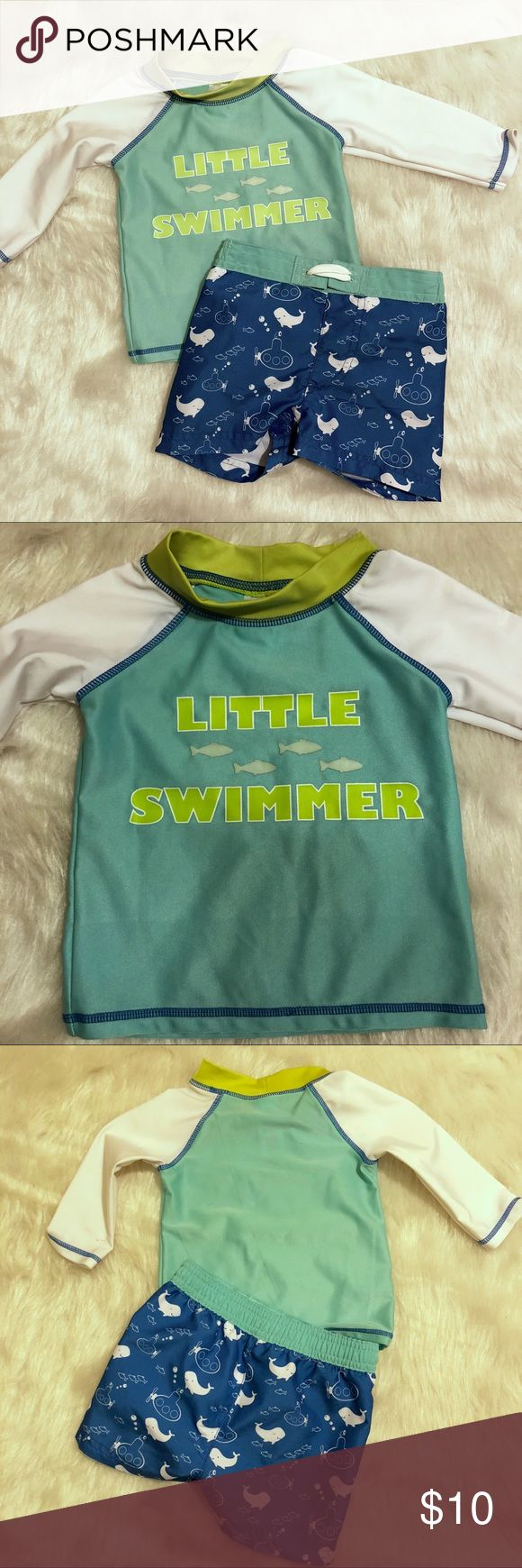 Little Swimmers Outfit 6-9 Months Long Sleeve swim shirt and swim shorts with little fish. White, blue, green. Baby boy. Great condition. Swim Swim Trunks