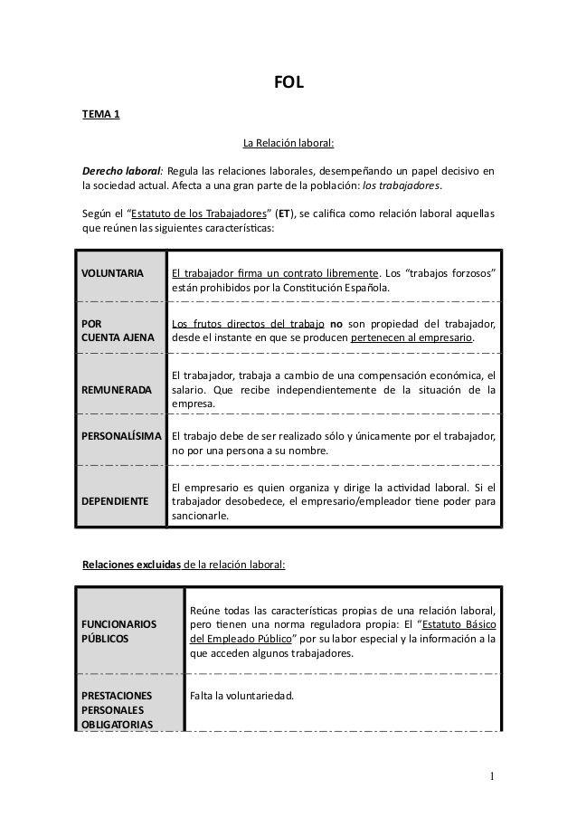 Fol Tema 1 La Relación Laboral Derecho Laboral Regula Las Relaciones Laborales Desempeñando Un Papel Decisivo En L Tema Resumen Habilidades Sociales