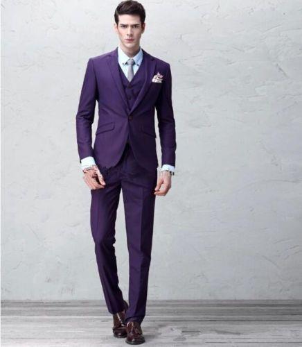 Custom Purple Slim Fit Mens Suit Groom Wedding Formal Tuxedos Suits Jacket Pants | eBay