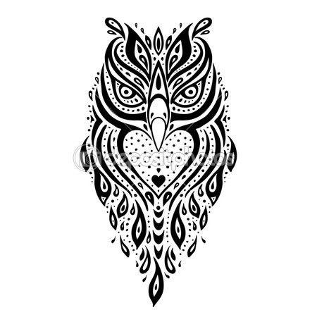 Decorative Owl. Ethnic pattern. — Ilustração vetorial #44777911