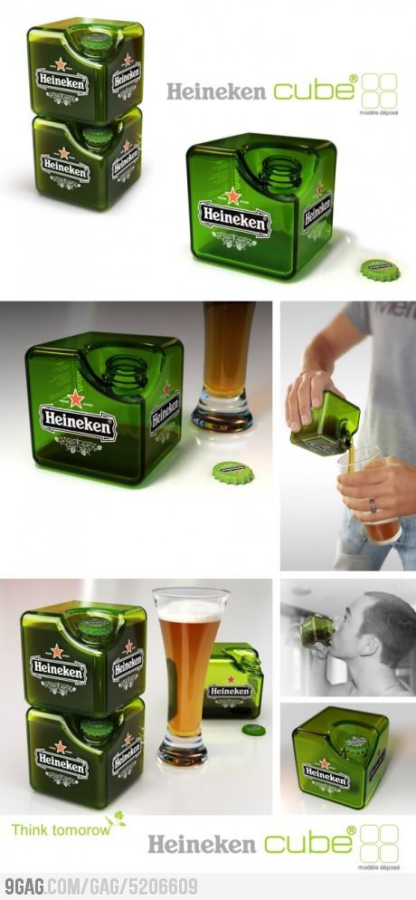 packaging design: Heineken cube by 88mobile déposé (via 9GAG): The most advanced beer on earth! ; )