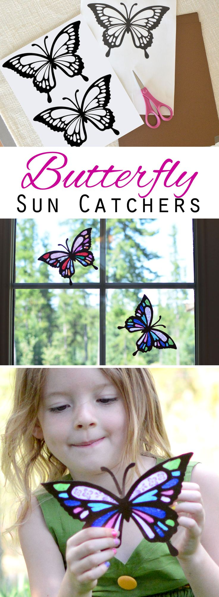 How to make butterfly sun catchers, a fun afternoon activity for kids!