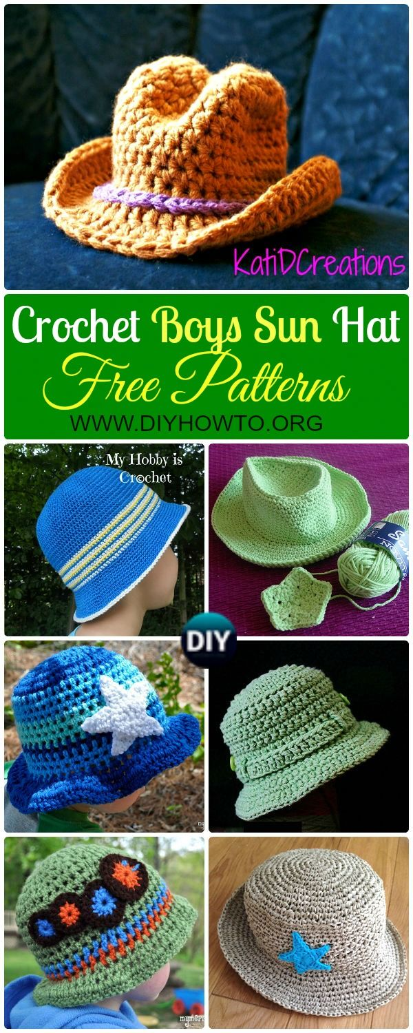 A collection of Crochet Boys Sun Hat Free Patterns: #Crochet; Brimmed Summer Sun Hat for boys, Fishing/Tilly Hat, Cowboy hat, Newsboy hat, Ocean Hat and more via @diyhowto