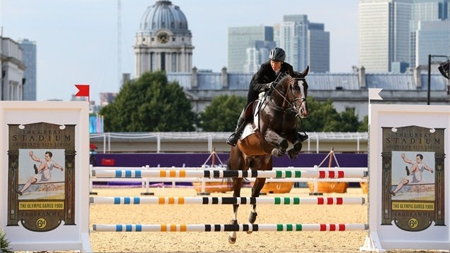 Elena Rublevska of Latvia riding Quel Ange competes during the Riding Show Jumping. Elena Rublevska of Latvia riding Quel Ange competes during the Riding Show Jumping in the Women's Modern Pentathlon on Day 16.