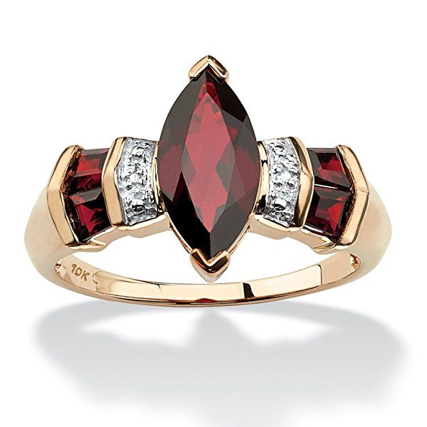 Marquise-Cut Genuine Red Garnet and Diamond Accent 10k Yellow Gold Ring