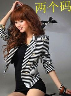 Find More Blazers Information about 8001# 2012 fluttering striped Lady Joker small jacket leisure suit with a corsage,High Quality suit hanger,China jacket green Suppliers, Cheap jacket collar from Guangzhou vicky hair products co., LTD  on Aliexpress.com