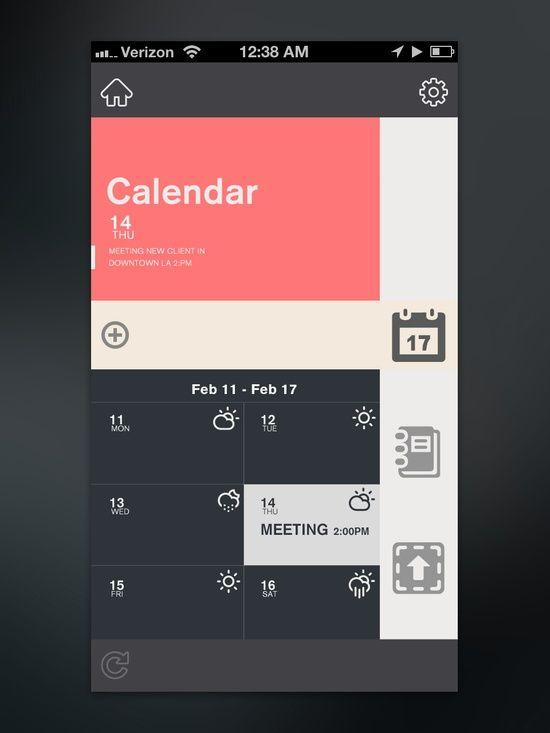 Calendar #UI #app | http://uidesigninspirations.13faqs.com
