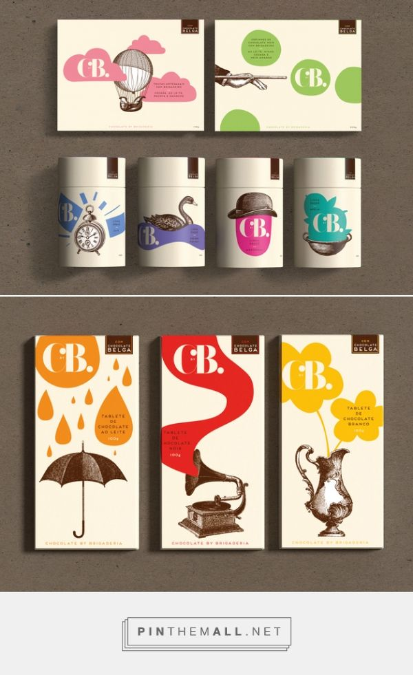 C by B - 2015 by Casa Rex, São Paulo curated by Packaging Diva PD. Red Dot Award winner for Brazlian chocolatier Brigaderia. Yummy nostalgic chocolate packaging.