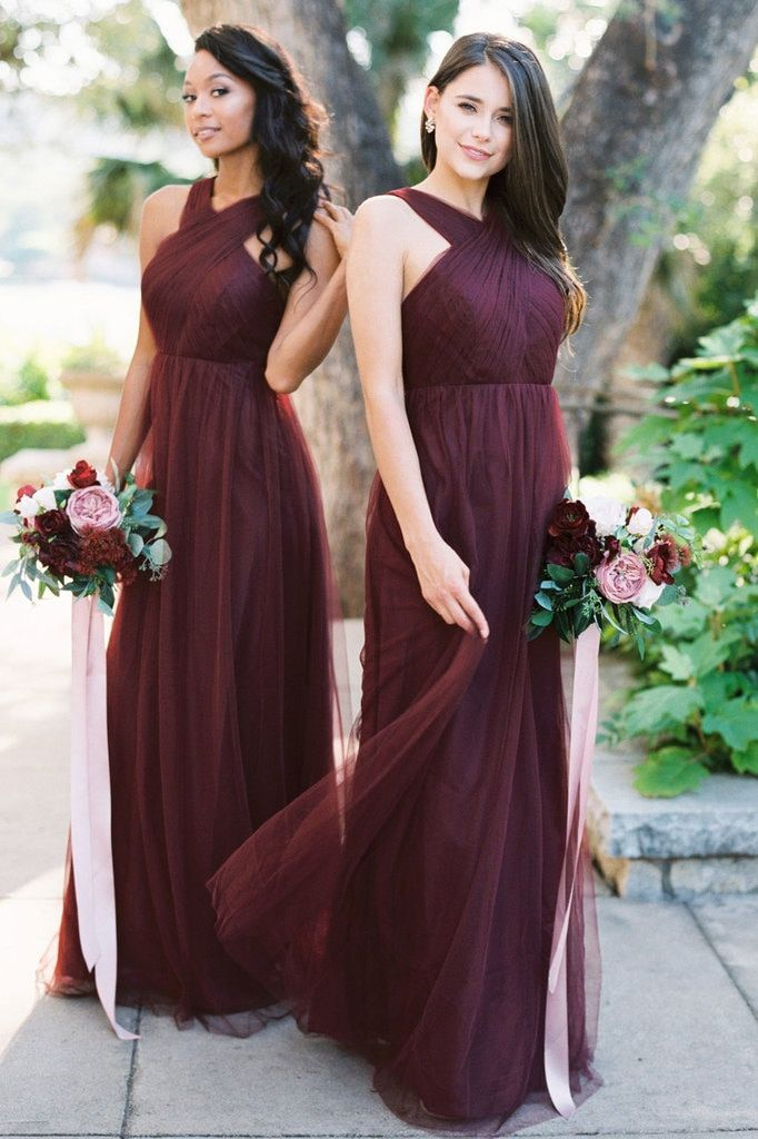 41f2187d42 Aria High Neck Tulle Bridesmaid Dress in Cabernet Tulle
