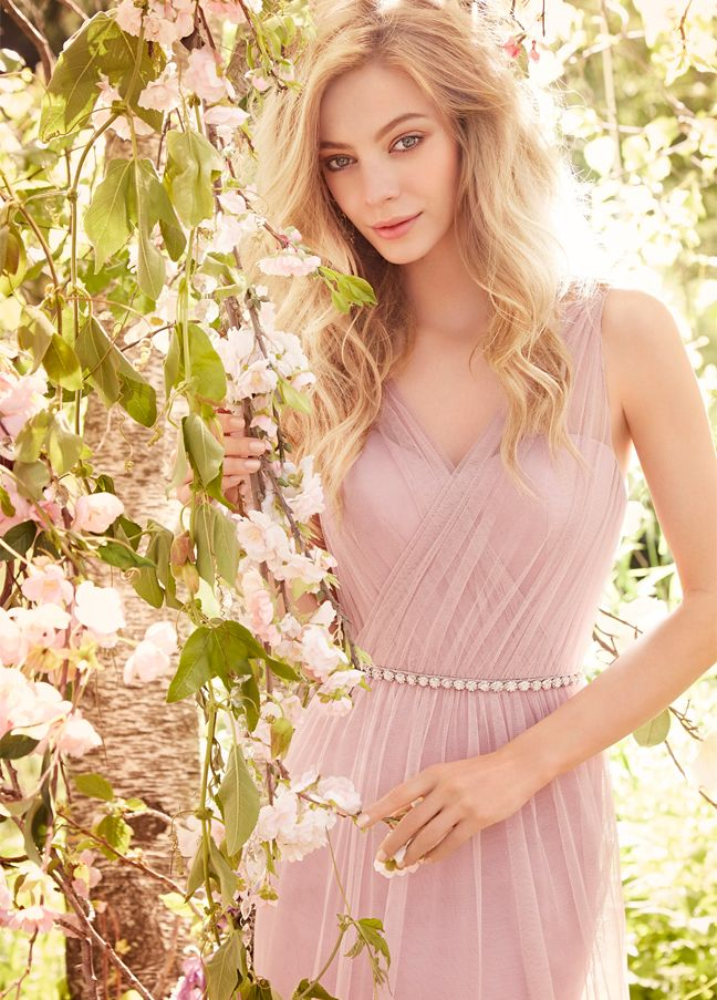 JH5556. Light purple sheer bridesmaid dress. Primrose English net A-line bridesmaid gown, draped V-neckline, gathered natural waist, keyhole back. http://itgirlweddings.com/occasions-fall-2015-collection/