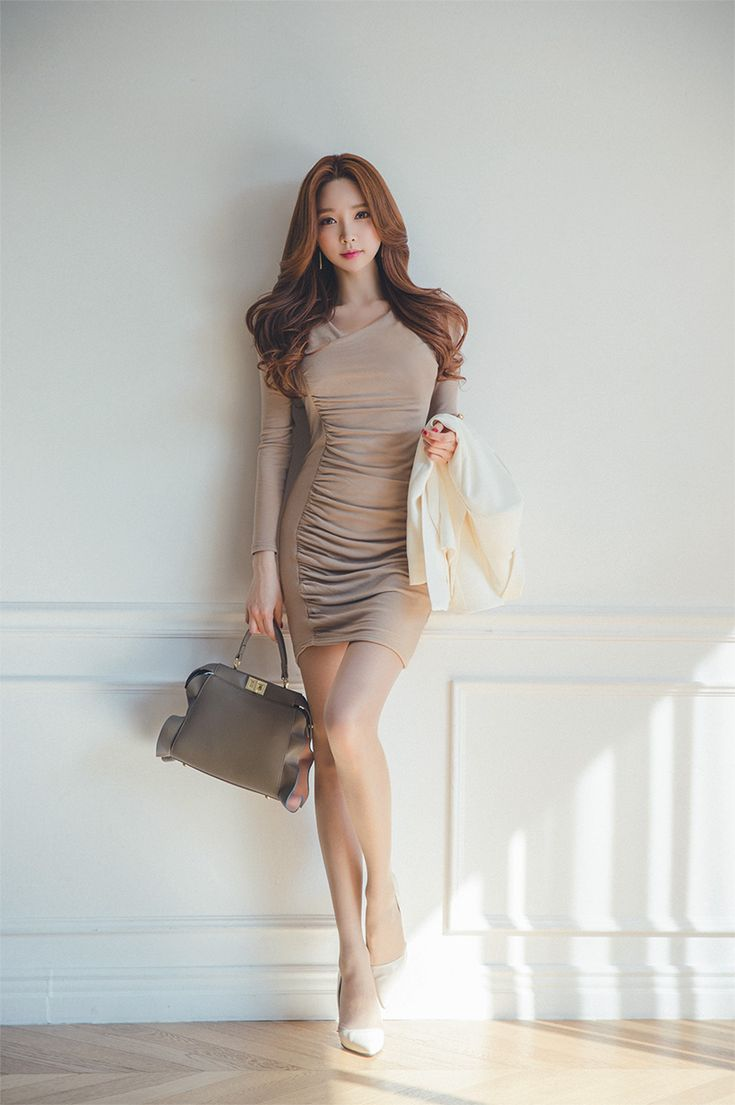Beautiful Korean girl wearing extremely sexy bouquet dress