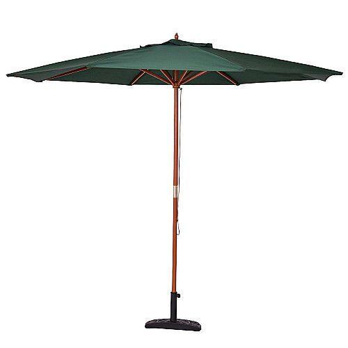 Large Garden Parasol 3M Patio Green Umbrella Wood Pole Folding Outdoor Sun Shade #SmartDealsMarket #gardenParasol