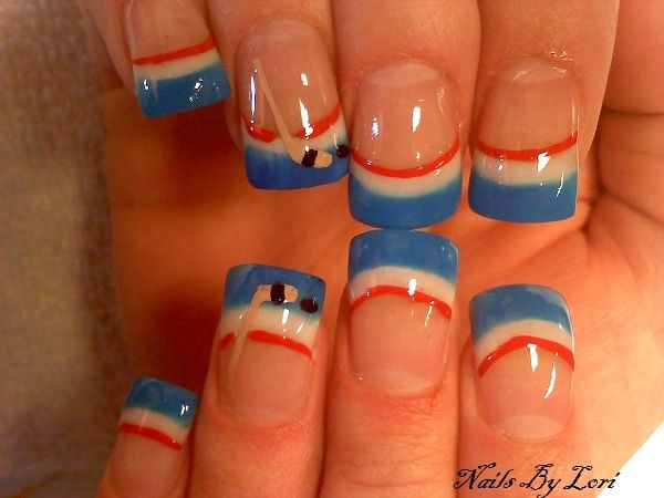 simple+cute hockey nails, USA colors! #goUSA