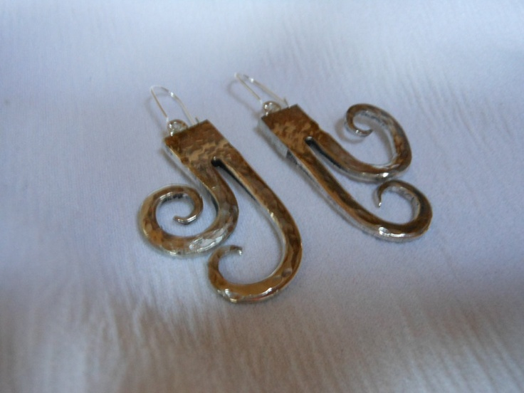 Hammered Tendrils Antique Fork Earrings.