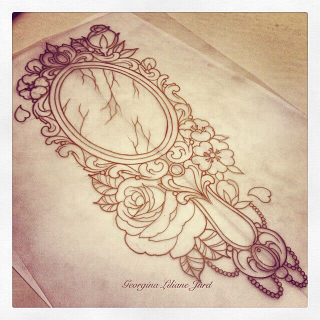 Ornate victorian handheld mirror tattoo. With Asking Alexandria lyrics ''she's such a beautiful masterpiece''.