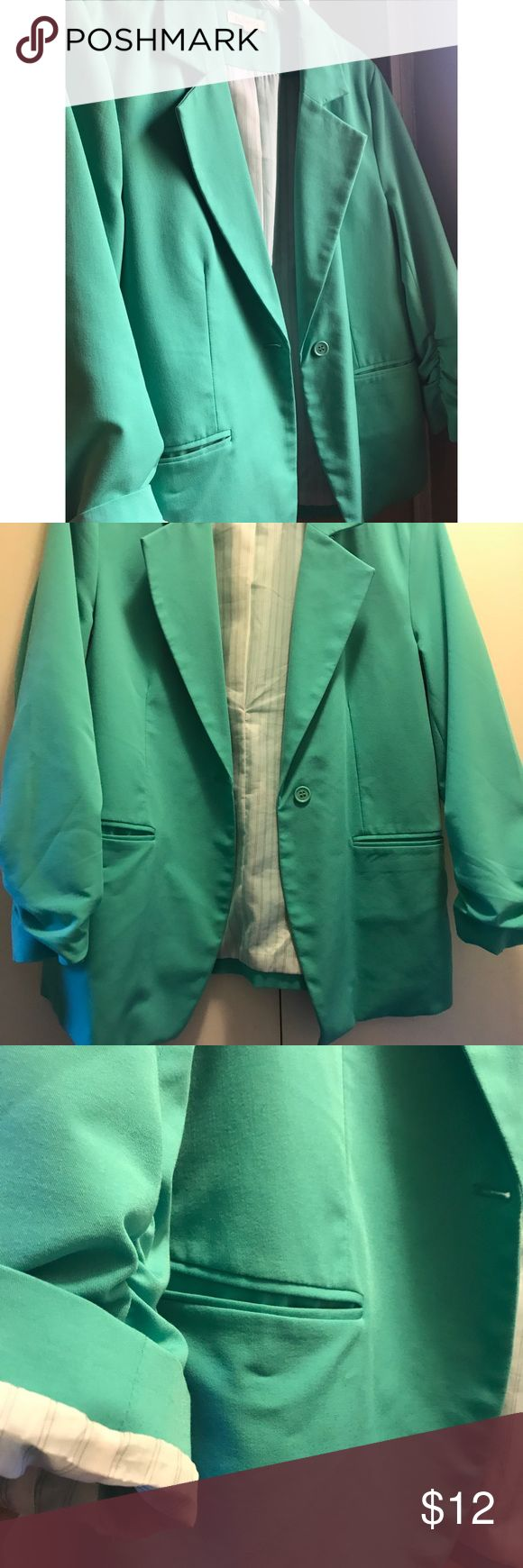 Mint green 1 button blazer Mint green 1 button blazer, pinstriped lining, 2 functional pockets, 3/4 sleeves that can be rolled up. Last pic is natural lighting Jackets & Coats Blazers