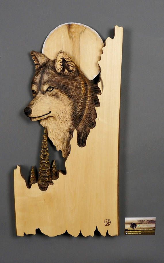 Wolf with moon Carved on Wood Wood  with Bark Hand Made Gift Wall Hanging for the Wolves lovers Rustic OOAK Gift for a Hunter Cabin Deco
