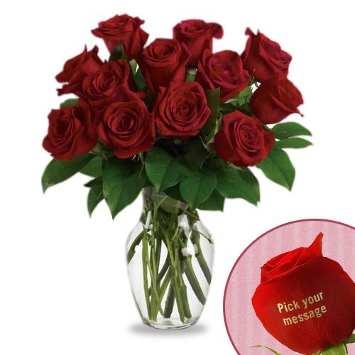 Valentine Day Flowers And Rose Arrangements   12 Roses With 1 Custom Text