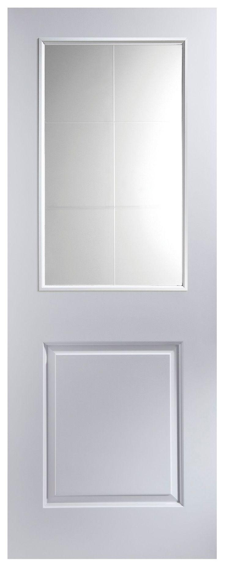 2 Panel Primed Smooth Glazed Internal Door, (H)1981mm (W)762mm