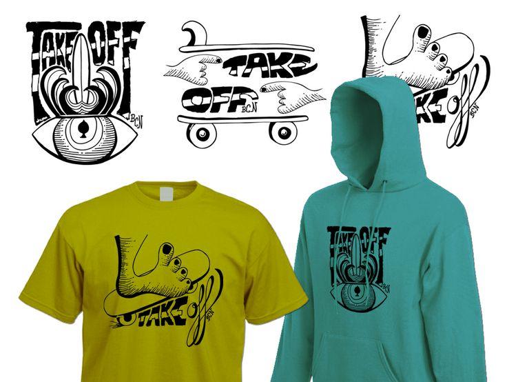 Ilustraciones sobre surf y skate a una tinta para camisetas y sudaderas. Trabajo realizado para Take Off Barcelona