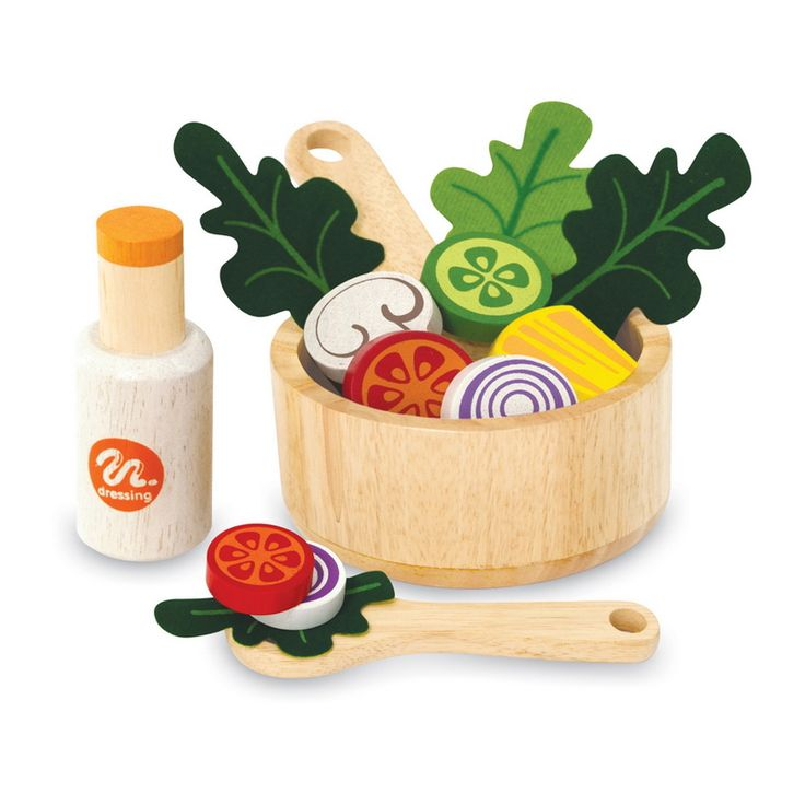 Artiwood Salad Set - $37 Such a great addition to any play kitchen! Features a wooden bowl, fruit and vegetables, salad utensils and a salad dressing bottle 3yrs +