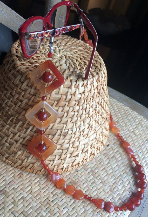 Carnelian Beaded Eyeglass Chain by GaylesDesigns01 on Etsy