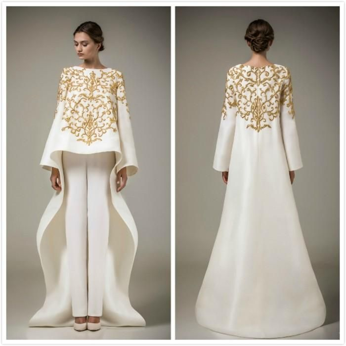 Women Formal Dresses 2016 Krikor Jabotian Dresses Evening Wear Bateau Neck Long Sleeves Plus Size Gold Embroidery Arabic Formal Prom Gowns No Trousers Backless Evening Dresses From Honeywedding, $145.55| Dhgate.Com