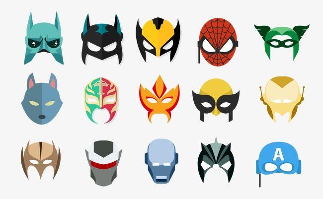 Héroe del cine europeo y americano las mascaras vectoriales, Heroe De Dibujos Animados Mascara American Movies, Batman, El Hombre De Hierro PNG y Vector