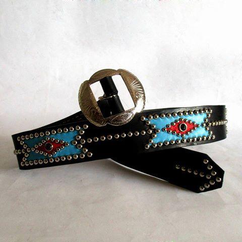 Canyonero Belts:  Chimayo inspired Studded and jeweled Belt. Rockabilly, Biker, Western... Rocanrolnenennn!