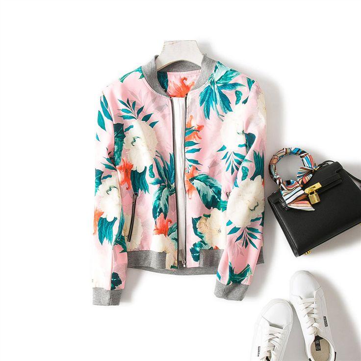 Encontrar Más Chaquetas básicas Información acerca de Mujeres floral print bomber jacket pink y encantadora, alta calidad floral print bomber jacket, China printed bomber jacket Proveedores, barato bomber jacket de Green_Light en Aliexpress.com