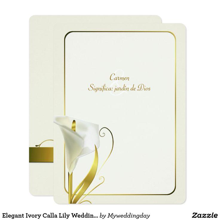 Invitación de marfil elegante del boda de la cala | Zazzle