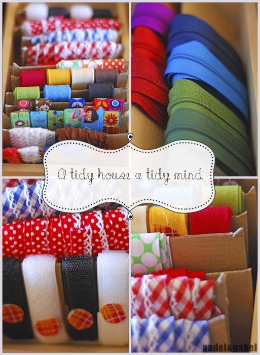 Sewing Tape Organization: Cleaning up and reorganizing  all the tapes, ribbons, rickracks, zippers–all is needed  are cardboard of an old parcel, washi tape, some pins and velcro dots (to fix the velcro tape).