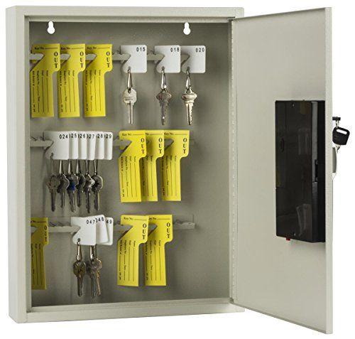 Displays2go Key Cabinet with 60 Hooks, LED Digital Keypad Lock, Wall Mount, Gray Steel (PWELC60TN)