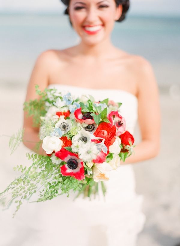red, white, and green wedding bouquet with anemones // photo by MichelleMarch.com