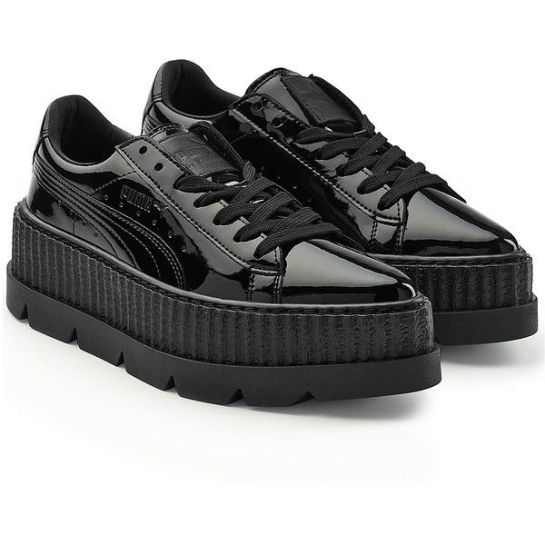 FENTY Puma by Rihanna Patent Leather Platform Creepers ($175) ❤ liked on Polyvore featuring shoes, black, black rubber sole shoes, creeper shoes, high platform shoes, black lace up shoes and black laced shoes