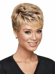 Sale Curly womens Cut Hairstyle Synthetic Wigs Short Hair Curly Brown Wigs with Bangs for Women +Free Wig Cap Perruque Natur