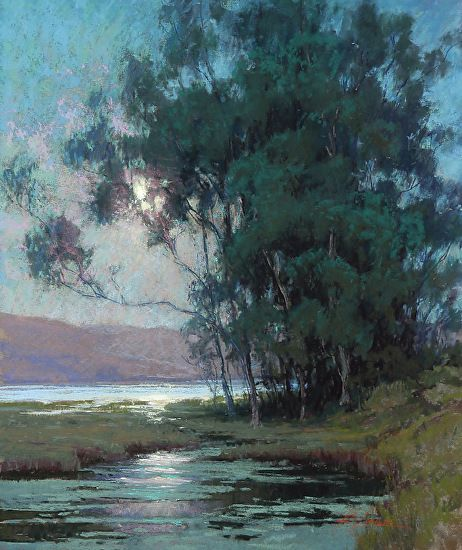 Kim Lordier - Twilight on the Slough, Pastel On Archival Paper