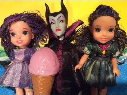 Descendants Mal and Evie toddlers get in trouble at Maleficents castle  ...