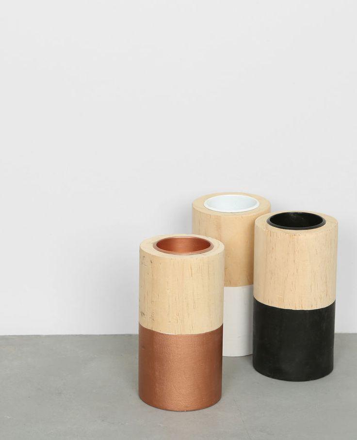 Bougeoir en bois bronze