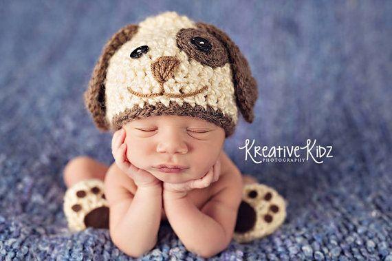 Baby Boy Hat PUPPY LUV Newborn Baby Boy Crochet por JerribeccaHats2