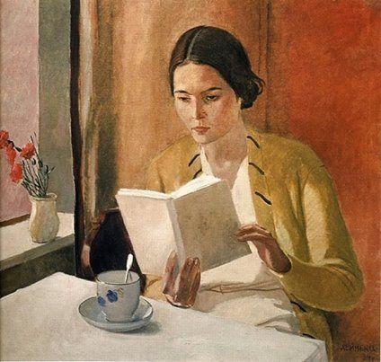 """Girl with a book"" (1934) By Aleksandr Deyneka (Алекса́ндр Алекса́ндрович Дейне́ка), from Russia (1899 - 1969)"