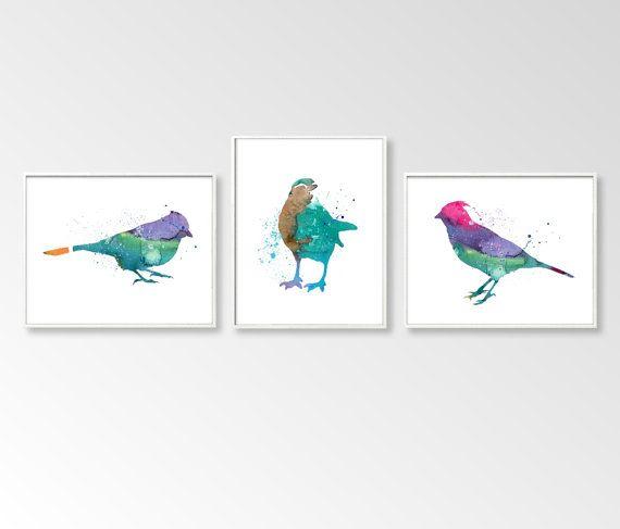 Set of Three Birds Nursery Art Nursery Birds Prints Baby Birds Prints Childrens Art Birds Room Wall Art Watercolors Prints Art Printable