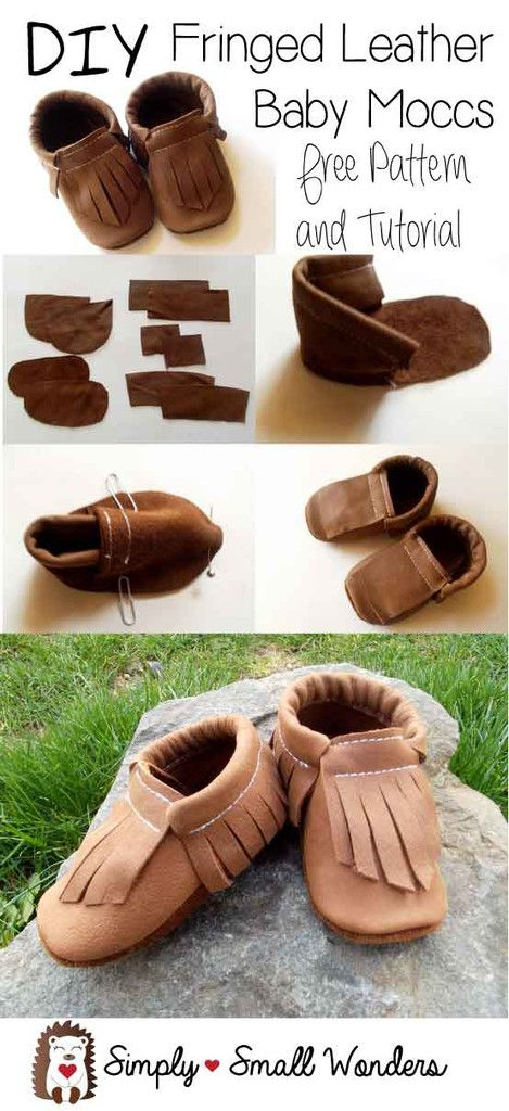 Free tutorial and downloadable PDF pattern for adorable fringed leather baby moccasins. These are made using re-purposed leather from a leather jacket!