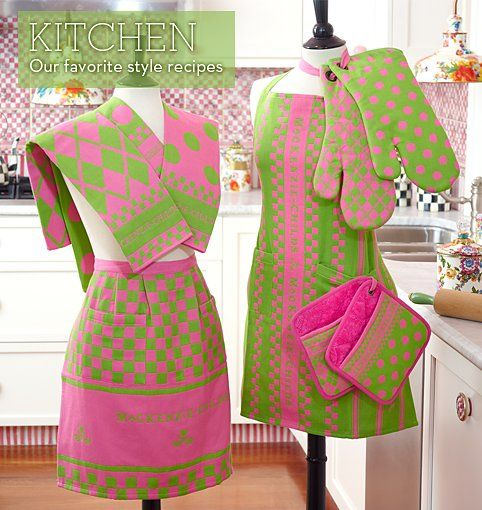 MacKenzie-Childs pink and green kitchen items