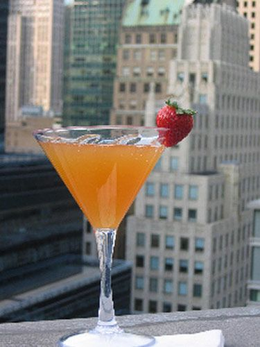 Mad Bellini Peach juice Peach schnapps Veuve Clicquot Rosé Garnish with rose petals or a strawberry. Recipe by Mad46, a Manhattan rooftop lounge   - MarieClaire.com