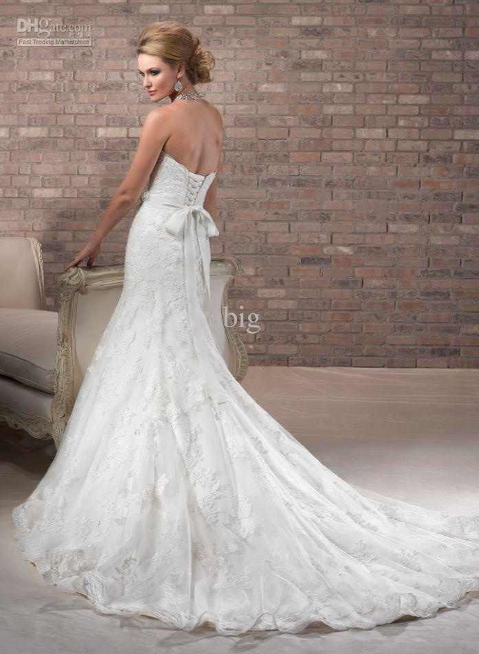 Wholesale 2012 Fall Elegant Lace A-line Strapless Gown Chapel Train Sleeveless 3654 Beading Wedding Dress, Free shipping, $143.36-188.16/Piece | DHgate