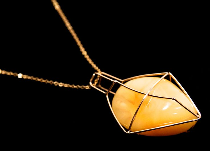GEOAmber Neckless made of Authentic Baltic Amber and 14K Gold (858)